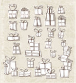 Paper-cut gift boxes in vintage style. — Stock Vector