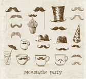 Moustache party objects hand-drawn with ink in vintage style. — Stock Vector