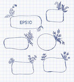 Hand-Drawn Sketchy Borders with Flowers and Plants. — Stock Vector