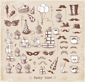 Set of sketch party objects hand-drawn with ink in vintage style. — Stock Vector