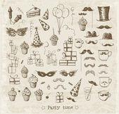 Conjunto de objetos de fiesta croquis dibujado a mano con tinta en estilo vintage. — Vector de stock