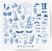 Set of sketch party objects hand-drawn with pen. — Stock Vector