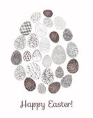 Easter card. Easter egg made of many small eggs. — Stock Vector