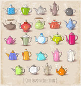 Cute boiling teapots. — Stock Vector
