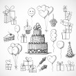 Stock Vector: Birthday sketch objects