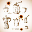 Stock Vector: Set of coffee elements in vintage style