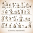 Stock Vector: Collection of vintage coffee mills.