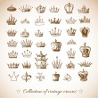 Stock Vector: Sketch crowns collection