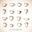Stock Vector: Sketches of cups in vintage style