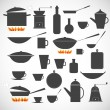 Stock Vector: Kitchen tools sillhoeuttes