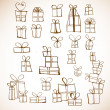 Stock Vector: Sketch gift boxes