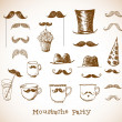 Moustache party objects — Stock Vector