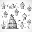 Stock Vector: Cakes, birthday gifts