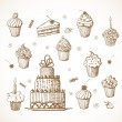 Stock Vector: Sketches of cakes and cupcakes