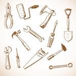 Tools hand drawn — Stock Vector