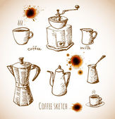 Set of coffee elements in vintage style — Stock Vector