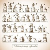 Collection of vintage coffee mills. — Stock Vector