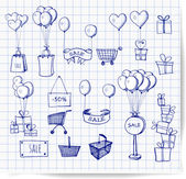 Sketches of shopping objects — Stock Vector