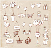 Shopping objects — Vector de stock