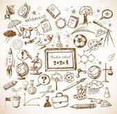 Back to school big doodles set — Stock Vector