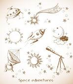 Sun, the Moon, stars, rocket, Saturn planet — Stock Vector