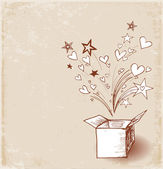 День Святого Валентина карты с волшебной шкатулке — Cтоковый вектор