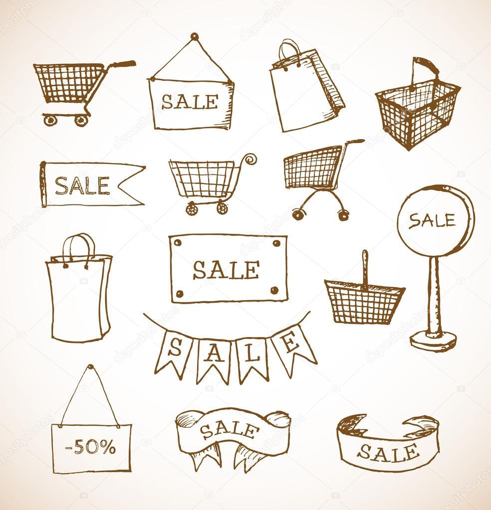购物对象手复古风格绘制的草图.矢量图–