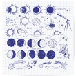 Set of astronomy sketches. — Stock Vector #42109423