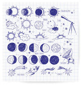 Set of astronomy sketches. — Stock Vector