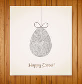 Easter card with one big ornated egg. — Stock Vector