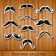Vintage paper-cut moustaches — Stock Vector