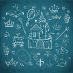 Sketches of princess' accessories on blackboard — Stockvektor