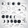 Set of astronomy sketches. — Stock Vector #42113581