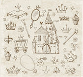 Sketches of princess' accessories in vintage style. — Vetorial Stock