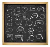 Speech and thought bubbles on blackboard. — Stock Vector