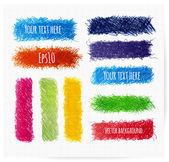 Set di banner schizzo colorato doodle. — Vettoriale Stock