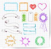 набор элементов: границы, баннеры, звезды — Cтоковый вектор