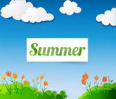 летний знак на весенний пейзаж. — Cтоковый вектор