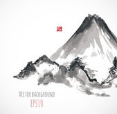 Mountains, traditional Japanese style — Stock Vector