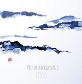 Blue fog mountains — Stock Vector