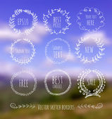 Circle floral borders on blurred background. — Stock Vector