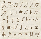 Music notes and signs — Stock Vector