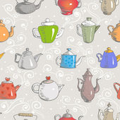 Background with teapots. — Stock Vector