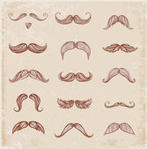 Hand-drawn moustaches — Stock Vector