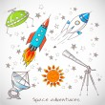 Space objects. Rockets,stars, telescopes. — Stock Vector