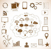 Sketches of cloud computing elements — Stock Vector