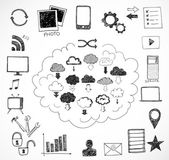 Sketches of cloud computing elements. — Stock Vector