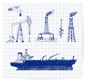 Sketches of oil rigs — Stock Vector