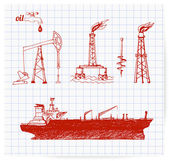 Pen sketches of oil rigs — Stock Vector