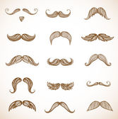 Hand-drawn moustaches — Stockvektor
